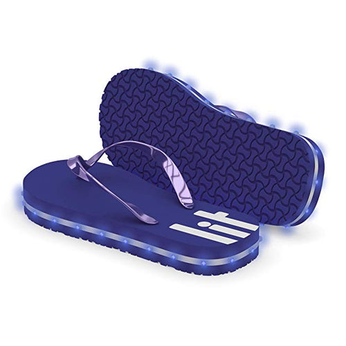 Litflip Light-Up Flip Flop Sandals for Women, Water-Resistant & Sandproof, Purple, Glowing LED Lights, Double USB Recharging Cable, Trendy Design & Durable Quality