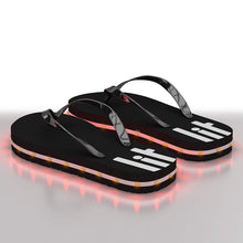 Load image into Gallery viewer, Litflip Light-Up Flip Flop Sandals for Men & Women, Water-Resistant & Sandproof, Black, Glowing LED Lights, Double USB Recharging Cable
