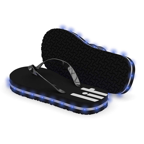 Litflip Light-Up Flip Flop Sandals for Men & Women, Water-Resistant & Sandproof, Black, Glowing LED Lights, Double USB Recharging Cable, Trendy Design & Durable Quality