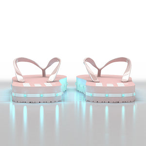 Litflip Light-Up Flip Flop Sandals for Women & Kids, Water-Resistant & Sandproof, Pink, Glowing LED Lights, Double USB Recharging Cable