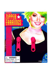 Forum Novelties Pink Zipper Earrings Adult (As Shown;One Size)