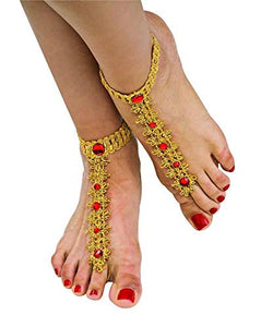 Bollywood Jeweled Fabric Costume Foot Decoration