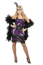 Load image into Gallery viewer, Charades Sexy Purple Sequin Flapper Dress Halloween Costume XS