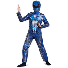Load image into Gallery viewer, Disguise Blue Power Ranger Movie Costume Medium 7-8 – Kids Power Rangers Blue Ranger Costume – Vibrant Blue and Silver Jumpsuit and Half-Mask – Easy Sizing and True to Size!