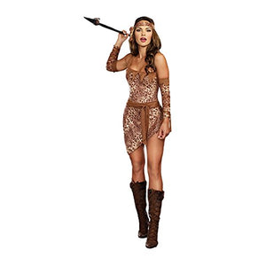 Dreamgirl Women's Jungle Fever Cavewoman Romper with Skirt Costume