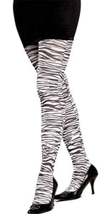 White Zebra Stockings - Womens Std.