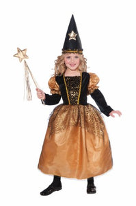 Halloween Costume Golden Star Sorceress Witch Child Costume, Medium