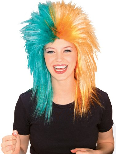 Rubie's Teal and Orange Sports Fan Wig, Teal/Orange, One Size