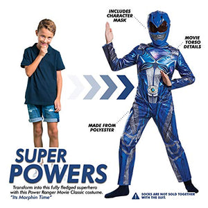 Disguise Blue Power Ranger Movie Costume Medium 7-8 – Kids Power Rangers Blue Ranger Costume – Vibrant Blue and Silver Jumpsuit and Half-Mask – Easy Sizing and True to Size!
