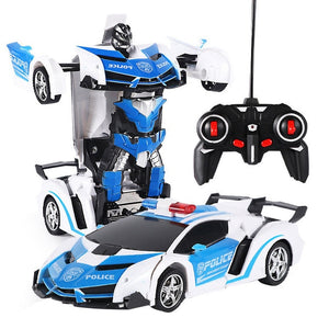 RC Car Transformation Robots Electric Remote Control Car Button Remote Control Deformable Vehicle Robot Toys Gifts For Boys