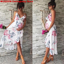 Load image into Gallery viewer, Maternity Dresses Maternity Clothes Pregnancy Dress Pregnant Dress Casual Floral Falbala Pregnants Dress Comfortable Sundress