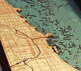Chicago Wood Carved Topographic Depth Chart / Map - Nautical Lake Art