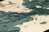 Straits Of Mackinac Wood Carved Topographic Depth Chart / Map - Nautical Lake Art