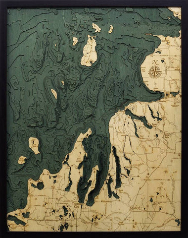 Northwest Michigan Wood Carved Topographic Depth Chart / Map - Nautical Lake Art