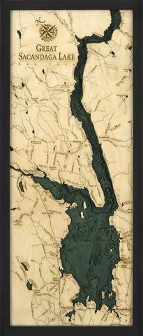 Great Sacandaga Lake Wood Carved Topographic Depth Chart / Map - Nautical Lake Art
