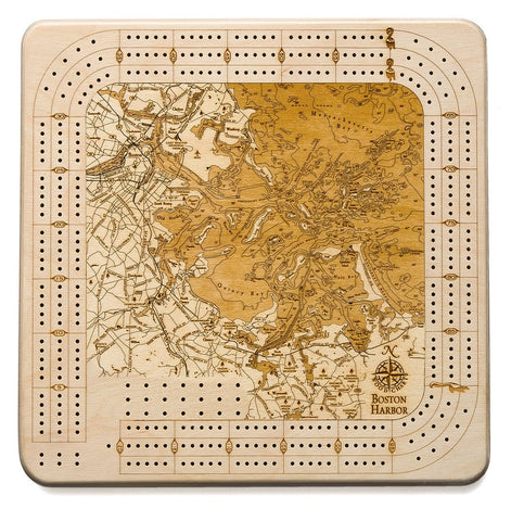 Boston Harbor Topographic Cribbage Board - Nautical Lake Art