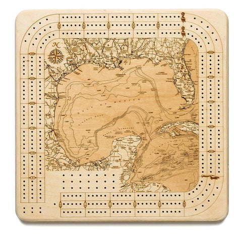 Gulf of Mexico Topographic Cribbage Board - Nautical Lake Art