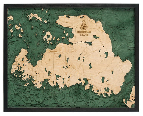 Drummond Island Wood Carved Topographical Depth Chart / Map - Nautical Lake Art
