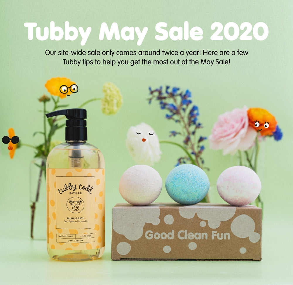 Tubby May Sale 2020 image with Bubble Bath, Bath Bombs and flowers