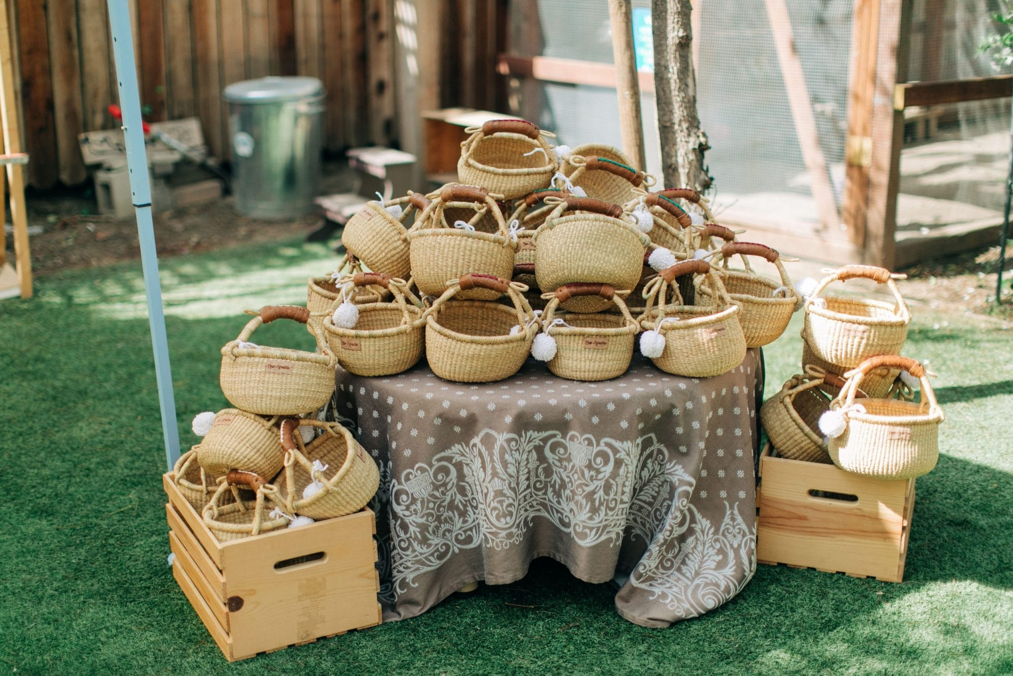 Woven goodie baskets at the party