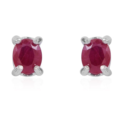Burmese Ruby Birthstone Oval Stud Earrings in Sterling Silver 1.00 ct