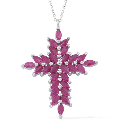 Burmese Ruby Cross Pendant Necklace 18 Inch in Sterling Silver 2.80 ctw