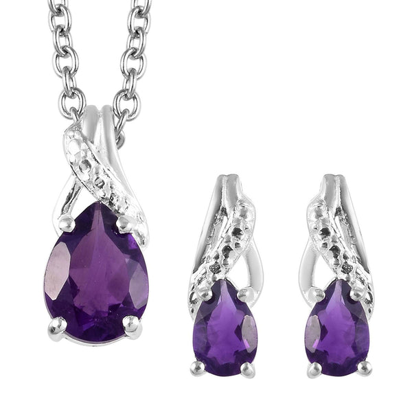 Amethyst  Birthstone Earrings and Pendant Necklace (20 in) in Sterling Silver and Stainless Steel 1.70 (Feb) ctw