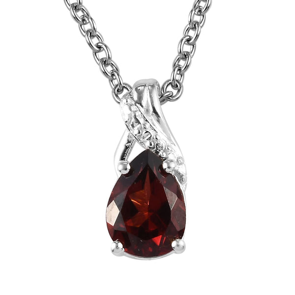 2.35 ctw Mozambique Garnet Birthstone Earrings and Pendant Necklace 20 Inch in Sterling Silver & Stainless Steel