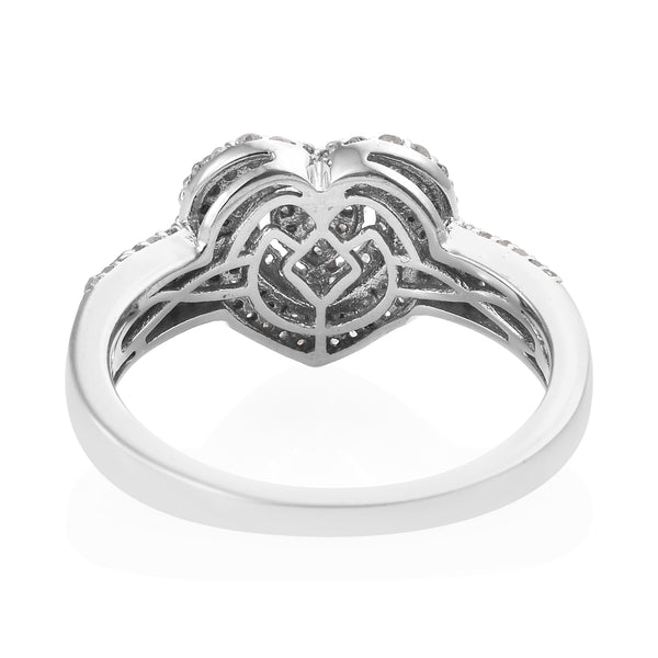 Diamond Heart Ring in Platinum Over Sterling Silver (Size 9.0) 0.75 ctw