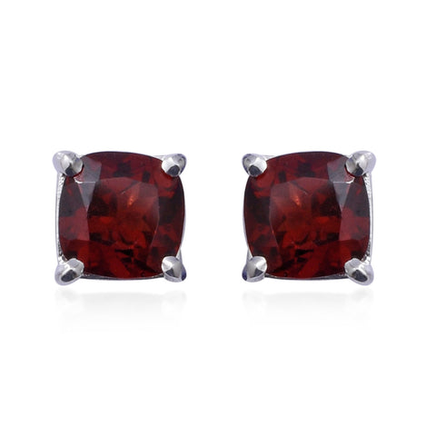 2.31 ctw Mozambique Garnet  Birthstone Stud Earrings in Sterling Silver