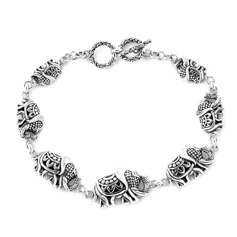 BALI LEGACY Linked Elephants Bracelet in Sterling Silver (7.50 In) (12.9 g)