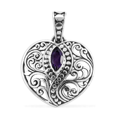 BALI LEGACY Amethyst Pendant in Sterling Silver 0.50 ctw