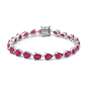 Niassa Ruby Tennis Bracelet in Platinum Over Sterling Silver (7.25 In) 19.51 ctw