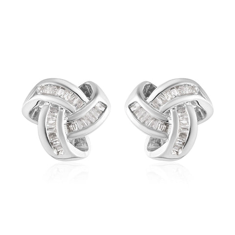 Diamond Birthstone  Knotted Stud Earrings in Platinum Over Sterling Silver 0.25 ctw