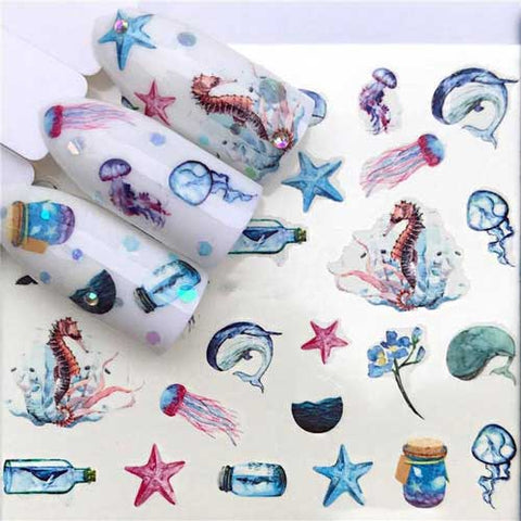 sea inspired water nail decals
