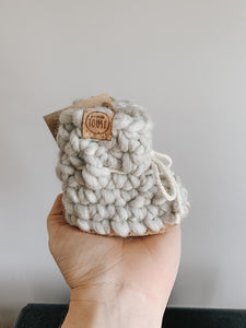 Wool booties - PEARL GREY