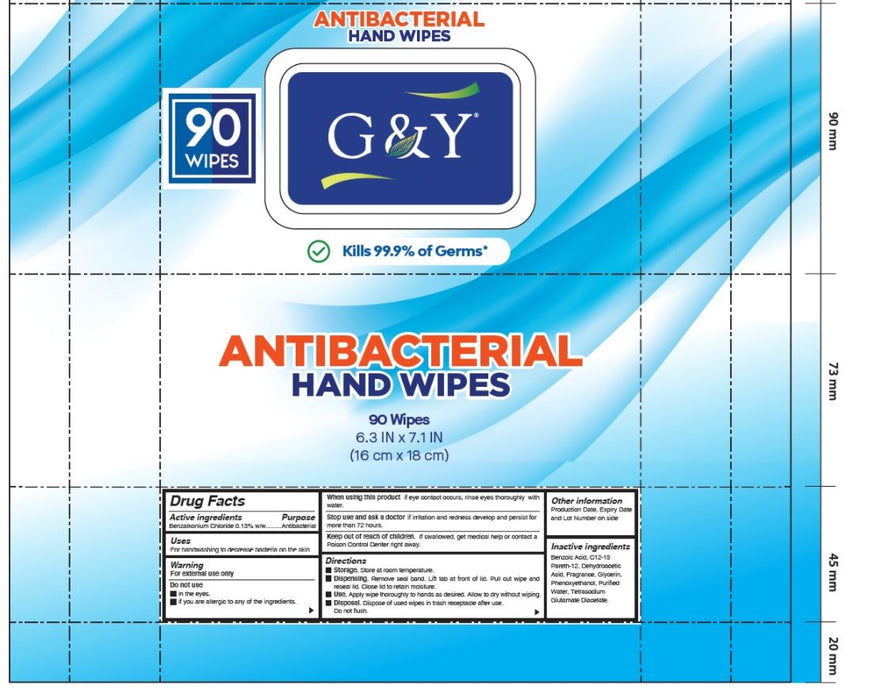 G&Y Antibacterial Hand Wipes 90 Sheet Each, (4 PACK) - $13.99