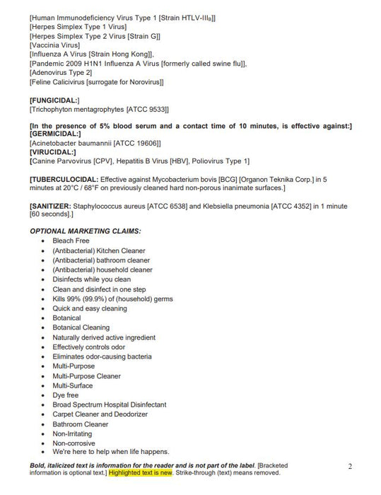 CleanCide Ingredients by Wexford Labs Page 2