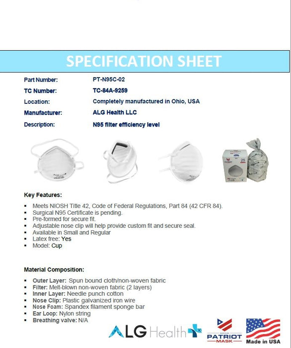 N95 NIOSH Masks ALG Hard Cup Shell (25 Pack) $79.99