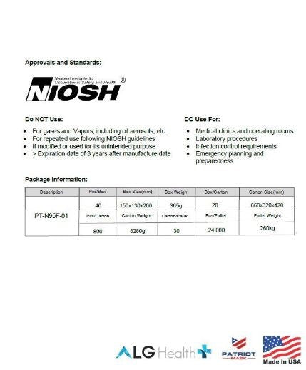 N95 NIOSH Masks ALG Soft Shell (20 Pack) $69.99
