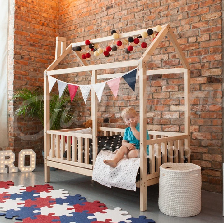 Wooden House Bed On Legs With Fence (Small & Medium)