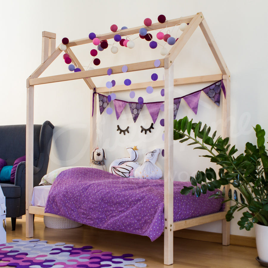 Wooden House Bed On Legs (Small & Medium)
