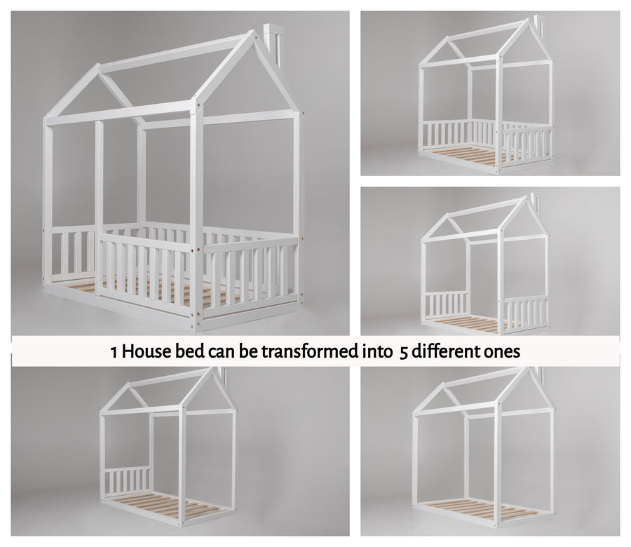 Wooden Zero-Clearance House Bed with Fence (Small & Medium)