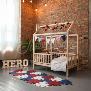 Wooden House Bed On Legs With Fence (Large & Extra Large)