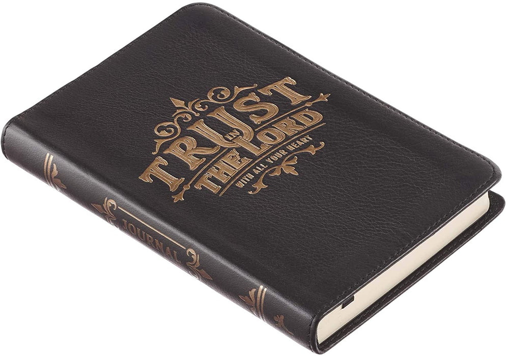 Black Full Grain Leather Journal | Trust In The Lord – Proverbs 3:5 Bible Verse | Handy-sized Inspirational Notebook w/Ribbon Marker 240 Lined Pages, 5.5 x 7 Inches