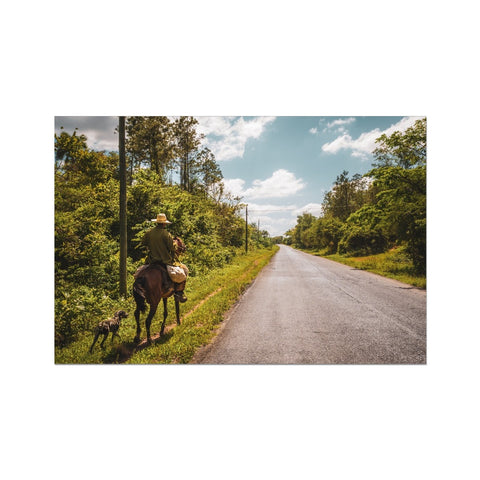 Cuba Original Road man Photo Art Print