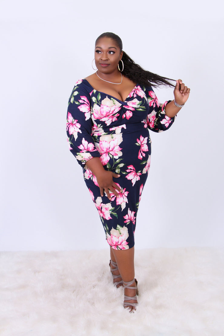 Blue Bloom Beauty Plus Party Dress - Kutashe Amor
