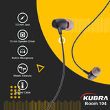 Kubra Boom-104 Wired Earphones with Mic, 3.5mm Jack and Braided Cable (Black)