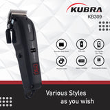 Kubra KB-309 Professional Cordless Rechargeable LED Display Hair Clipper Heavy Duty For Hair and Beard Cut (Black)