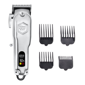 Kubra KB-409 Professional Cordless Rechargeable LED Display Hair Clipper Heavy Duty For Hair and Beard Cut (Grey)